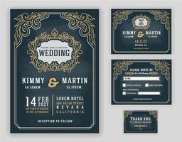 Vintage gracioso e convite de casamento luxuoso vetor