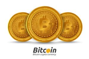 Três, dourado, bitcoin, sinal, branco, fundo vetor