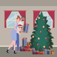 família comemorando o natal em casa vetor