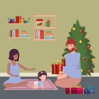 família interracial comemorando o natal em casa vetor