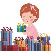 menina com celebração de presentes de natal vetor