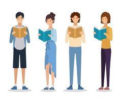 grupo de alunos lendo livros vetor
