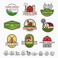 Design de modelo de logotipo fazenda vintage moderno