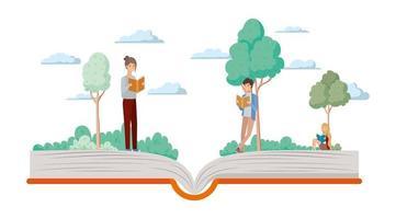 casal de alunos lendo livros vetor