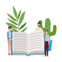 grupo de meninos de alunos lendo livros vetor