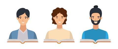 grupo de alunos meninos com livros vetor