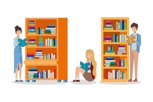 grupo de alunos lendo livros na biblioteca vetor
