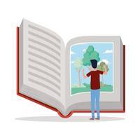 jovem lendo um livro vetor