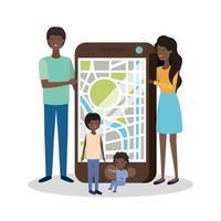 membros da família afro fofos com smartphone vetor