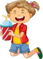 personagem de desenho animado de garota feliz segurando um copo plástico de bebida vetor