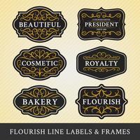 Conjunto de quadros de caligrafia de florescer e design de rótulos vetor