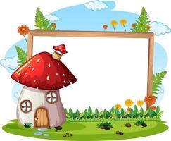 banner vazio com casa de cogumelo fantasia vetor