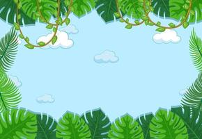 fundo de céu vazio com elemento de folhas vetor