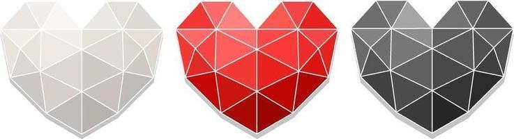 conjunto de cores diferentes de coração geométrico vetor