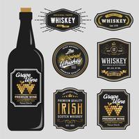 Design de rótulo de marcas de uísque premium vintage vetor