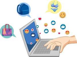 mão usando laptop com ícones de emoji no fundo branco vetor