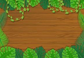 fundo de placa de madeira em branco com elementos de folhas vetor