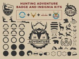 Kits de elemento de logotipo de emblema de caça e aventura para criador vetor