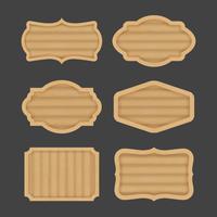 Design de banner de rótulo de placa de madeira vetor