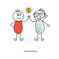 parceria de negócios de dois personagens de desenhos animados vetor