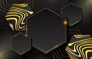 fundo geométrico ouro preto vetor