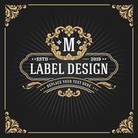 Banner de quadro de luxo vintage monograma vetor