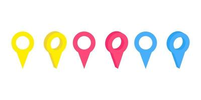 conjunto de vetores de pinos de mapa isolados realistas no fundo branco. conceito de navegação, transporte, entrega e jornada