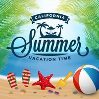 Tipografia de verão e fundo de férias vetor