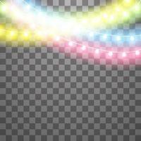 guirlandas, efeitos de luzes de decorações de natal. elementos de design de vetor isolados. luzes brilhantes para design de cartão de férias de Natal. luz led colorida e néon luminoso