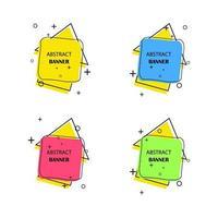 banners geométricos. rótulos promocionais. formas geométricas vetoriais para publicidade vetor
