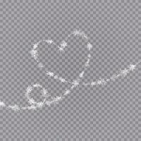 flocos de neve em forma de coração em um estilo simples em linhas de desenho contínuas. vestígios de poeira branca. fundo abstrato mágico isolado. milagre e magia. vetor