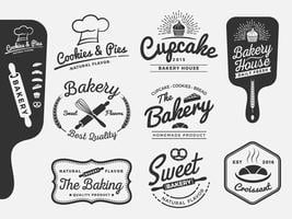 Conjunto de design de rótulos de logotipo de padaria e pão vetor