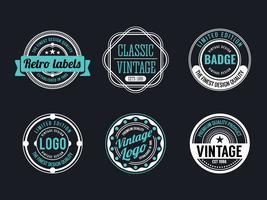 Vintage círculo e coleção de Design de distintivo retrô vetor