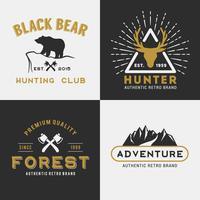 Design de logotipo de aventura de montanha de floresta vetor