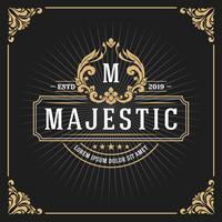 Banner de quadro de luxo vintage monograma