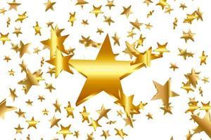 ouro amarelo estrelas 3d caindo. fundo estrela do vetor confete. cartão dourado iluminado pelas estrelas. confetes caem uma decoração caótica.