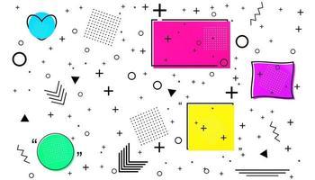 cartão de memphis com formas geométricas. design de moda de luxo, anos 80 e 90. vetor