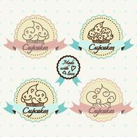 Conjunto de logotipo de cupcake. vetor