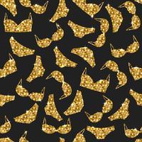 Padrão sem emenda de lingerie. Vector design de fundo de roupa interior. Ilustração de roupa interior de mulher dourada. Sutiãs e calcinhas de ouro.