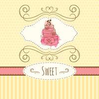 Ilustração do bolo. Cartão desenhado de vetor mão com salpicos de aquarela. Bolinhas doces e design das listras. Modelo de cartão de convite.