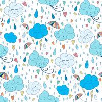 Padrão de tema vector chuva sem emenda. Projeto rabiscando colorido do outono com nuvens.