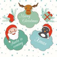 Conjunto de elementos de Natal e ano novo bonito dos desenhos animados vetor