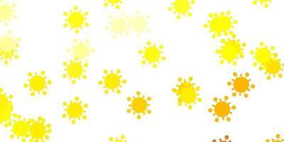 padrão de vetor amarelo claro com elementos de coronavírus.