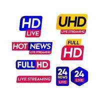 hd ao vivo, streaming ao vivo uhd, streaming de notícias ao vivo, streaming ao vivo, 24 notícias ao vivo, ilustração de design de modelo vetorial de 24 rótulos ao vivo vetor