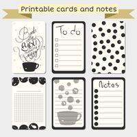 Cartões de registro no diário imprimíveis. Elegante para fazer a lista. vetor