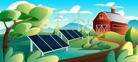 estação de energia solar de eco-tecnologia vetor