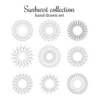 Coleção de vetores Sunburst. Quadros de raios retrô. Estrela estourou mão desenhados círculos. Elementos decorativos de luz do sol.