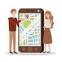 jovem casal com aplicativo para smartphone e GPS vetor