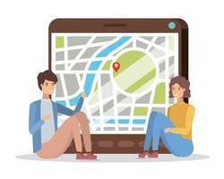 jovem casal com aplicativo para tablet e GPS vetor