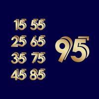 Celebração de aniversário de 95 anos ilustração de design de modelo vetorial ouro azul